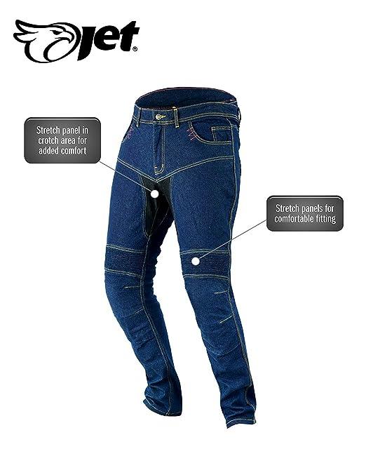 JET Pantalon Moto Hombre Jeans Kevlar Aramid Con Armadura TECH PRO (54 Largo/Cintura 38