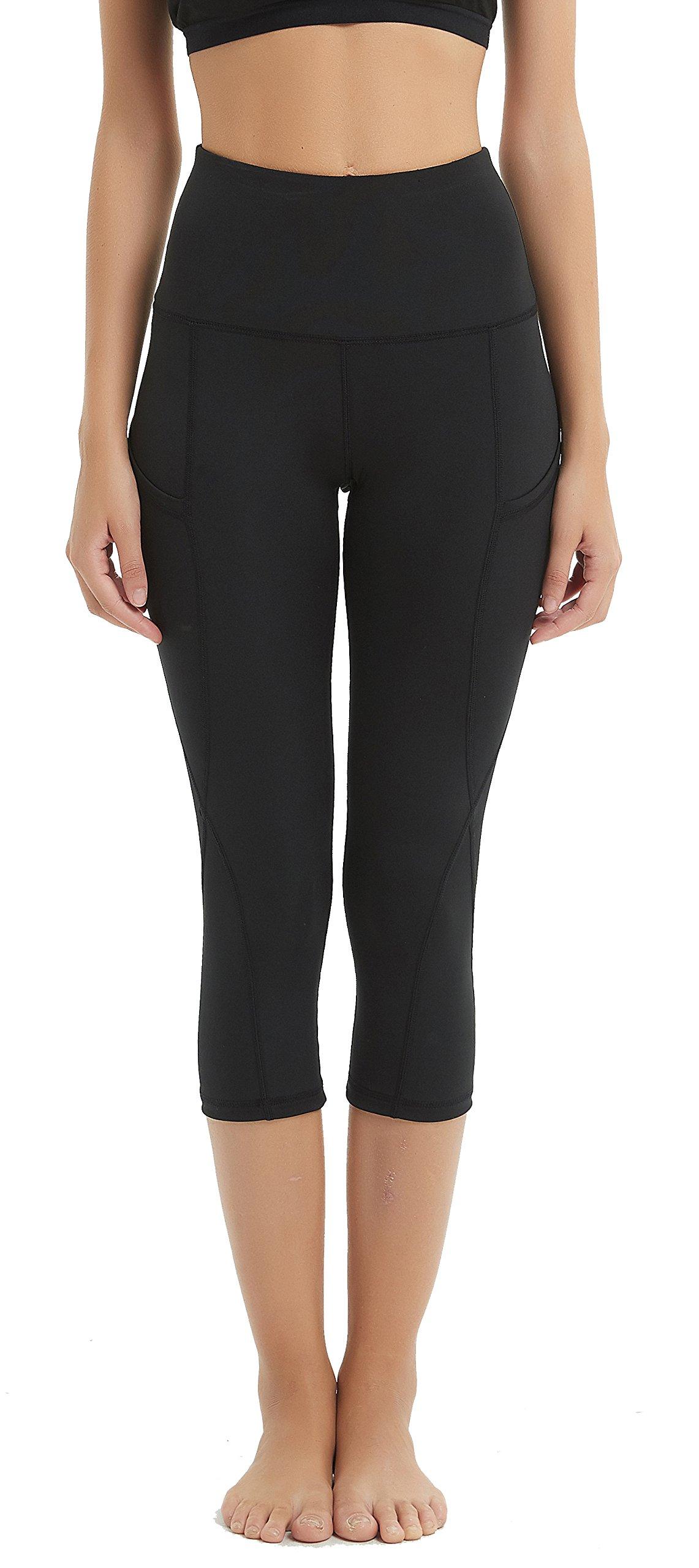 Lemorecn Women's High Waist Out Pocket UPF 50+ Capris Swim Pants Tights Surfing Leggings Sun Protection(6002black-XL)