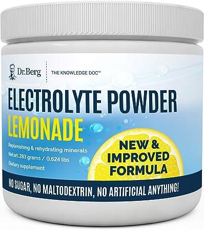 Dr. Berg's Original Electrolyte Powder Lemonade - Hydration Drink Mix Supplement, Boosts Energy & Keto-Friendly - NO Maltodextrin & Sugar-Free - No Ingredients from China - Lemon Flavor 45 Serving