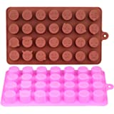 GeMoor Emoji Chocolate Tray Mould, Silicone Chocolate Candy Jelly Molds - 2 pack