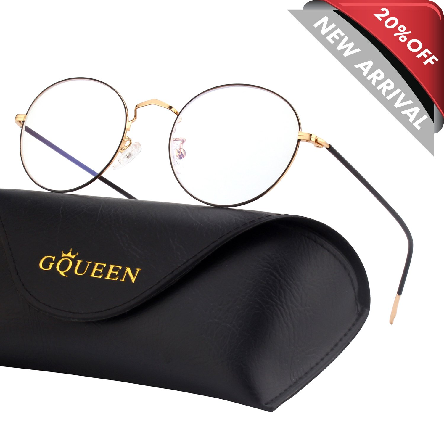 GQUEEN Round Blue Light Blocking Computer Glasses Anti Eye Fatigue with Transparent Lens GQ129