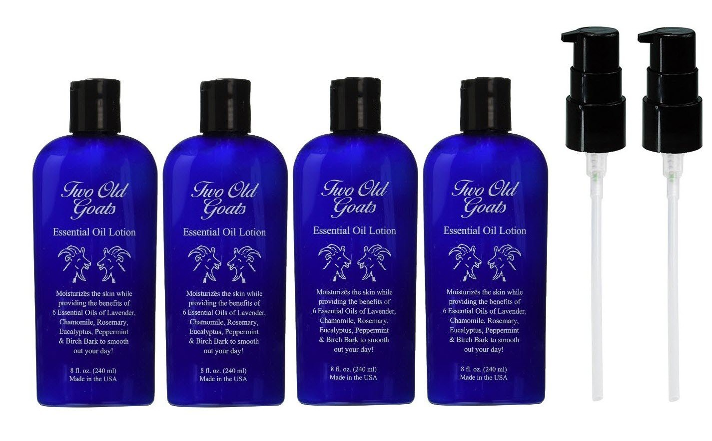 Two Old Goats Essential Oil Lotion, 8 Fluid Ounce, Pack of 4 by Two Old Goats
