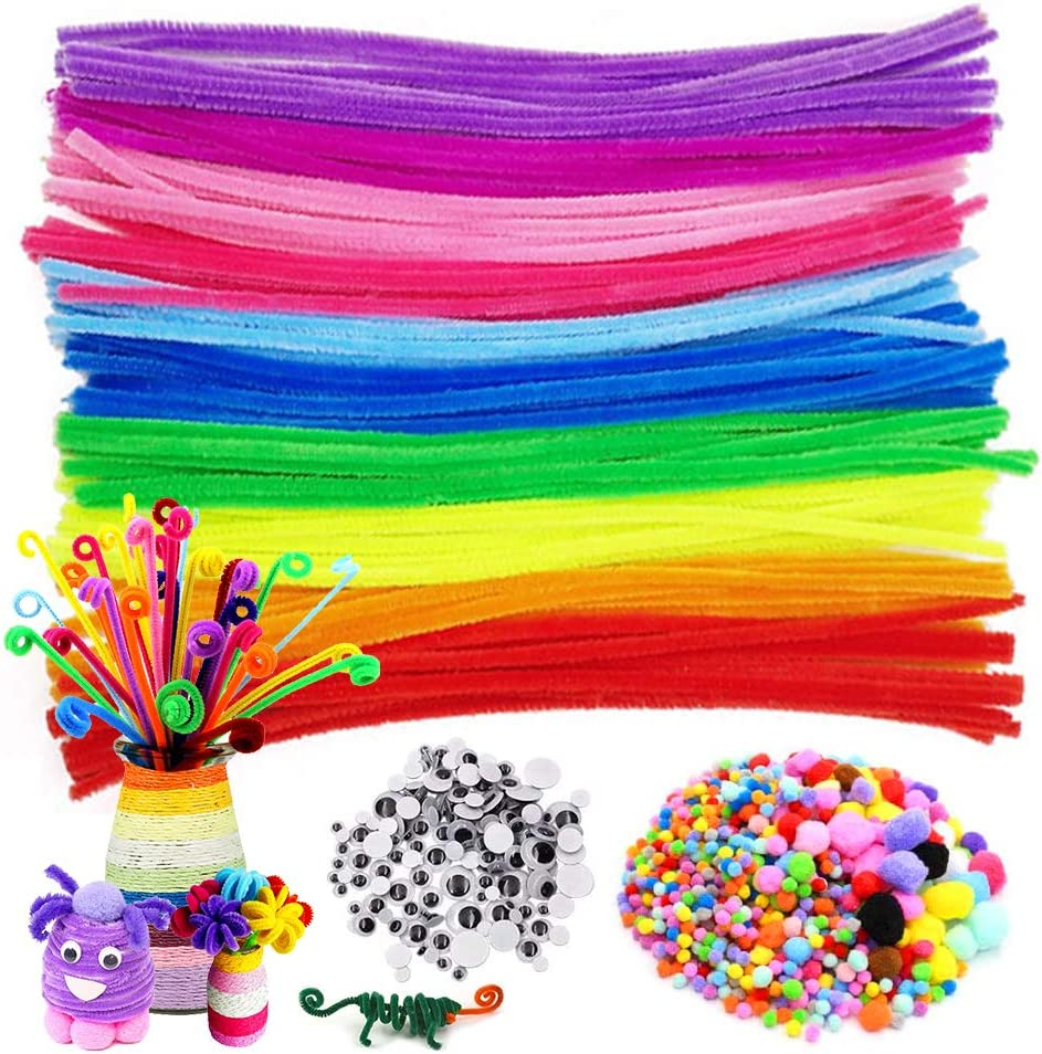 500Pcs Pipe Cleaners Craft Set,Including 100Pcs Pipe Cleaners 250Pcs Colorful Pompoms Assorted 150Pcs Wiggle Googly Eyes Self Adhesive,Assorted Colors and Assorted Sizes for DIY Craft Supplies