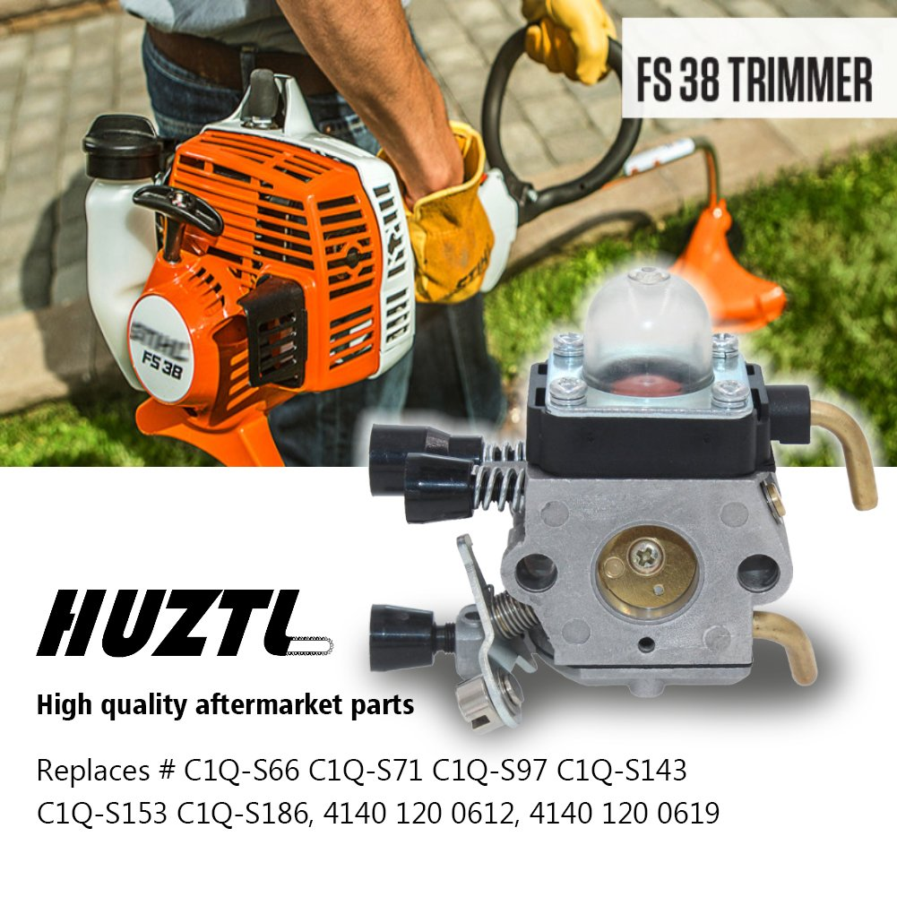 HUZTL C1Q-S97 Carburetor for STIHL FS38 FS45 FS46 FS55 KM55 HL45 FS45L FS45C FS46C FS55C FS55R FS55RC FS85 FS80R FS85R FS85T FS85RX String Trimmer Weed Eater with Air Filter Fuel Line Kit by by HUZTL (Image #2)