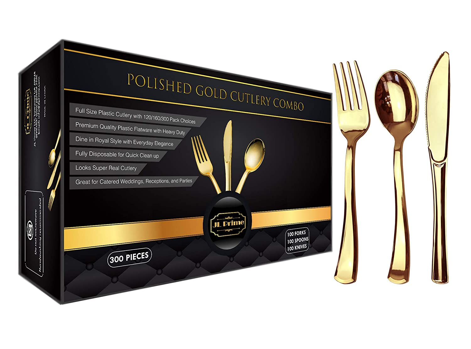 300 Gold Plastic Silverware Set, Gold Plastic Cutlery Set, Heavy Duty Utensils for Party & Wedding, Disposable Gold Flatware, Gold Plastic Forks, Gold Plastic Spoons, Gold Plastic Knives,100 Each