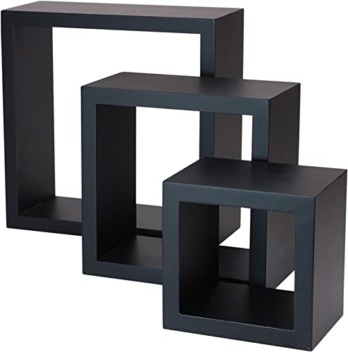 kieragrace Stockholm Cubbi Floating Wall Shelves – 5 x 5 , 7 x 7 , 9 x 9 , Black, Set of 3