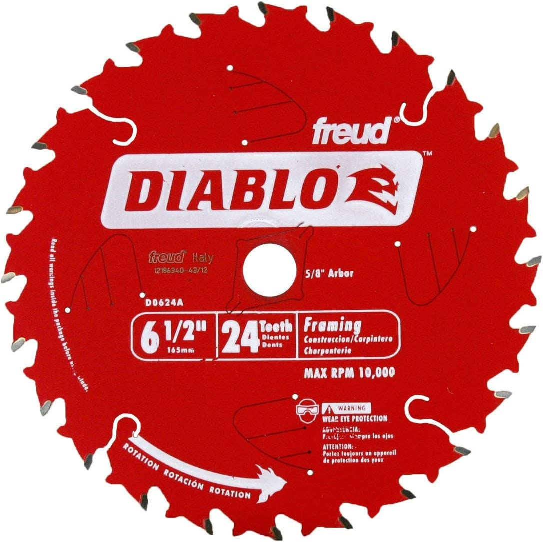 Freud D0624A 6‑1/2 in. x 24‑Tooth Tracking Point Wood Framing Saw Blade, Carbide