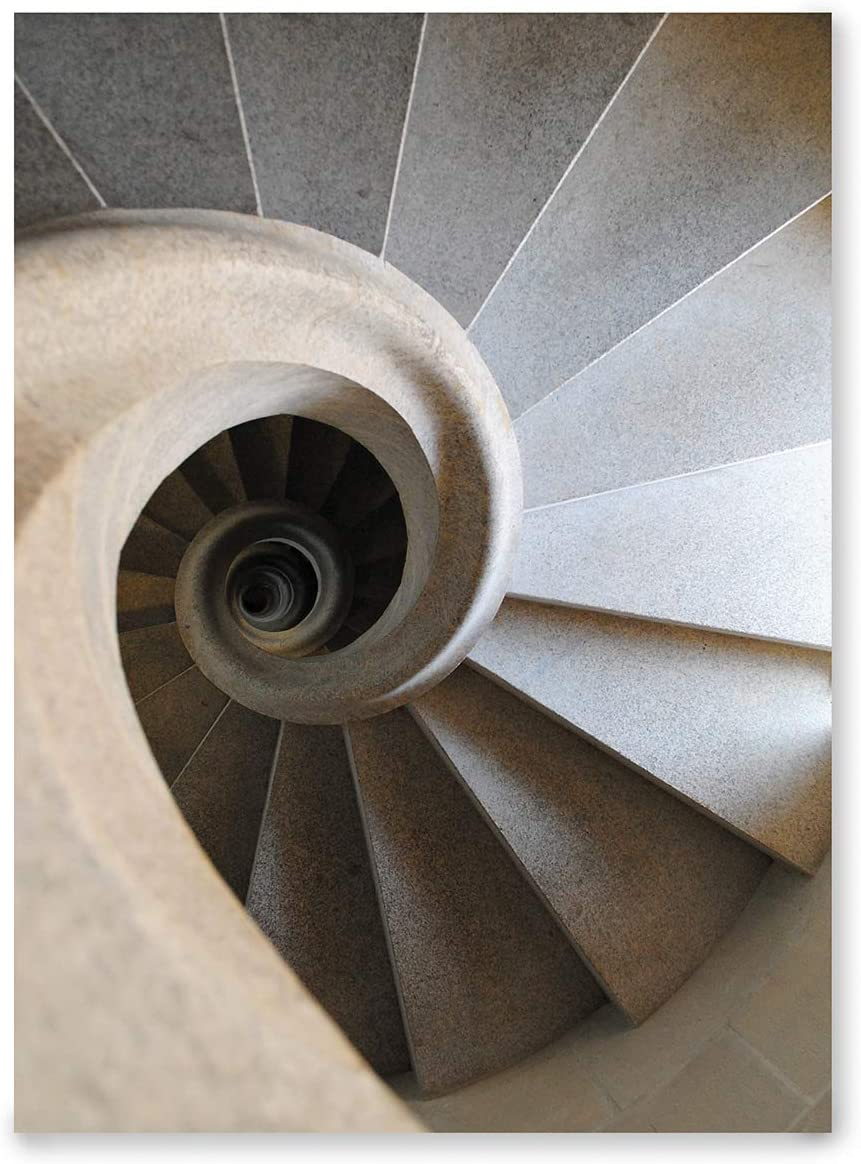 Laminas Decorativas | Modelo Arquitectura | Escalera de Caracol de Piedra | Sin Marco | Decoración Hogar | Laminas Decorativas para Enmarcar | Laminas para Cuadros | 50x70cm: Amazon.es: Hogar