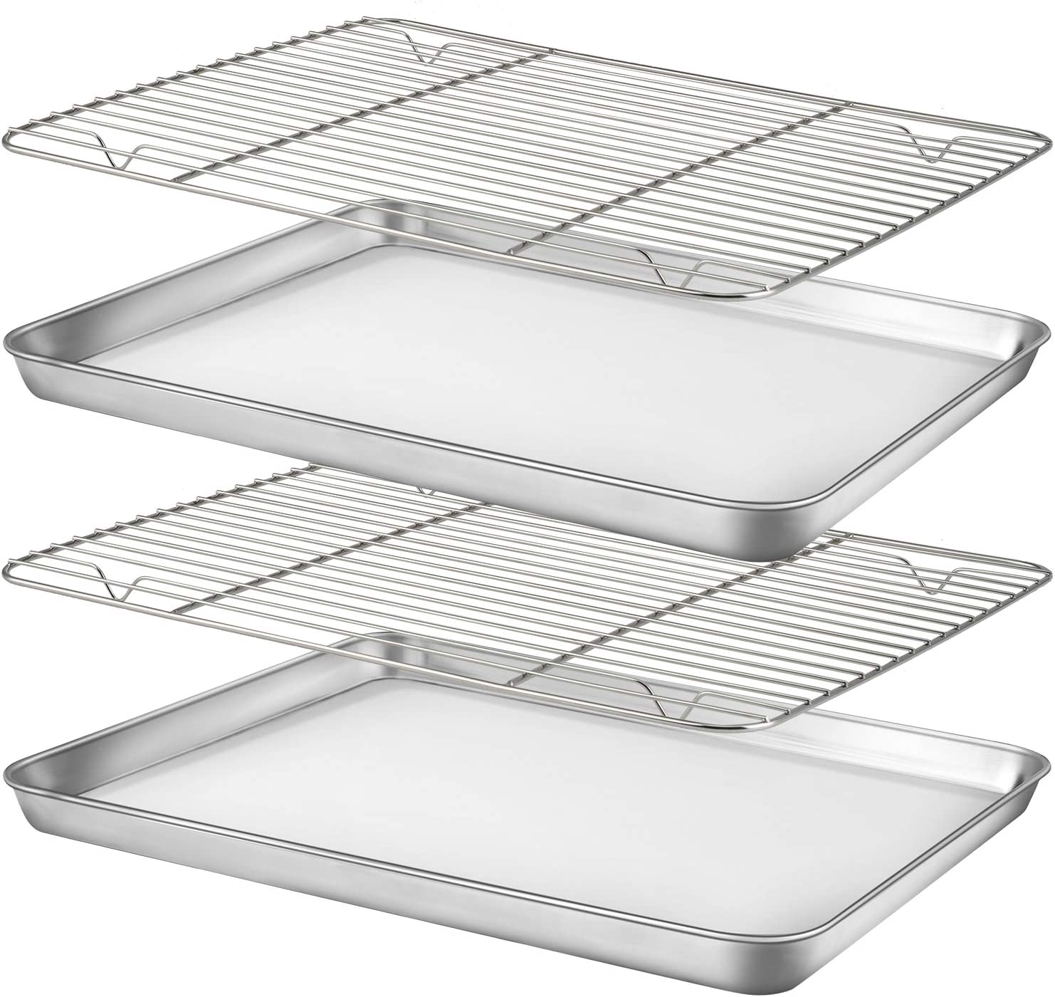 "Baking Sheet with Cooling Rack Set [2 Sheets+2 Racks], Nonstick Cookie Pan(16"" x 12"" x 1"" ), Stainless Steel Baking Pans, Non-Toxic, Heavy Duty, Easy Clean: Kitchen & Dining"