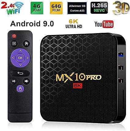 MX10 Pro Smart TV Box Android 9.0 Allwinner H6 UHD 4K Media Player 6K Decodificación de Imagen 4 GB / 64 GB 2.4 G WiFi 100 M LAN USB3.0 H.265 VP9: Amazon.es: Electrónica