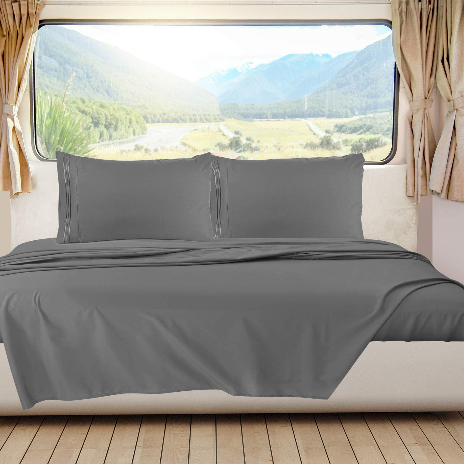 Nestl Bedding Short Queen Sheets, RV Sheets Set for Campers, Deep Pockets Fitted RV Bunk Sheets