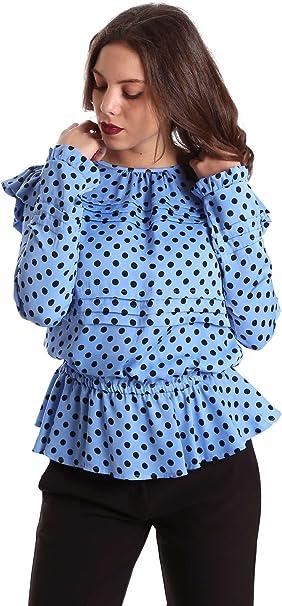 Denny Rose - Camisa Lunares Engomada - M, Azul: Amazon.es: Ropa y accesorios
