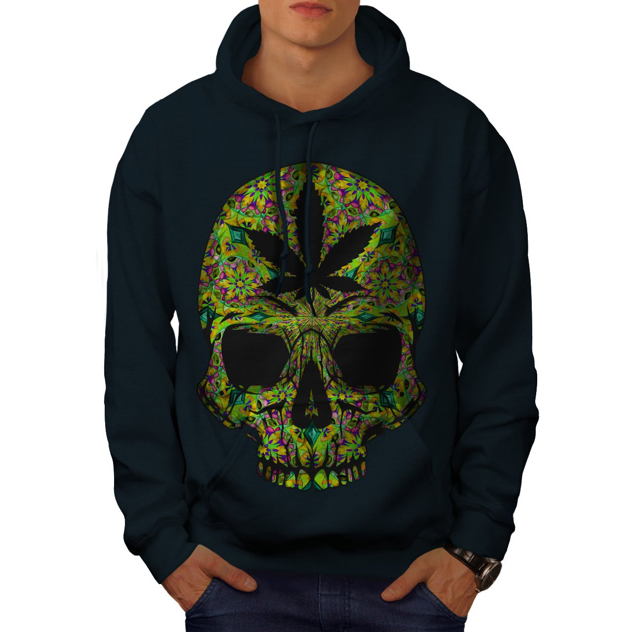 Wellcoda Skull Weed Stoner Rasta Mens Hoodie, Pot Denim Hooded Sweatshirt