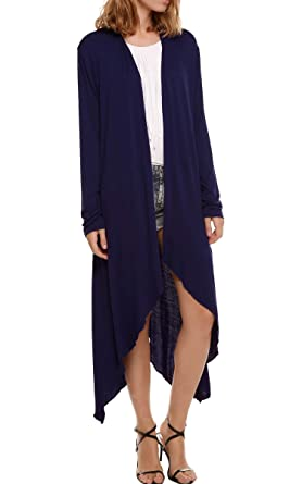 OURS Women s Asymmetric Hem Drape Open Front Knit Long Maxi Cardigan (M 190dab91e