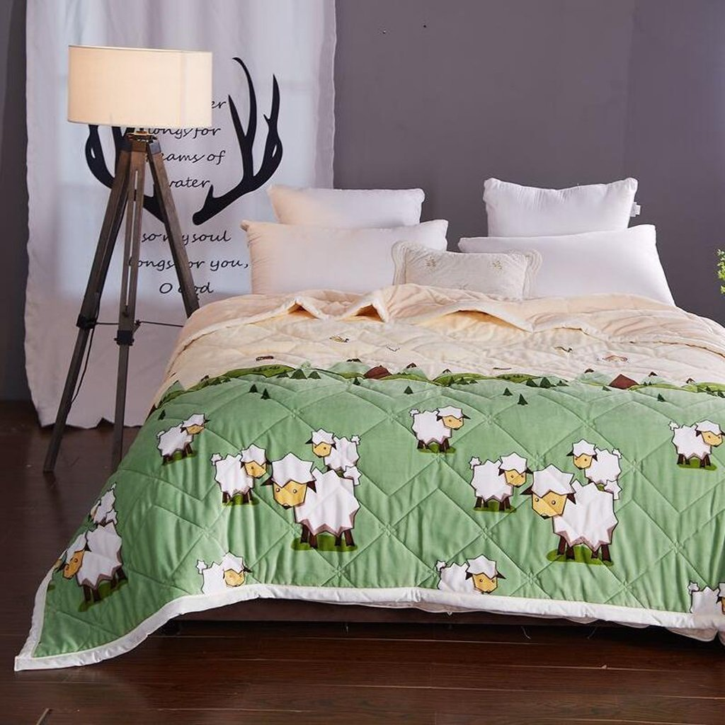 YAOHAOHAO Animal green of the image of three layers of invisible heel heat bed linen flannel quilt Winter (Size: 120200cm).