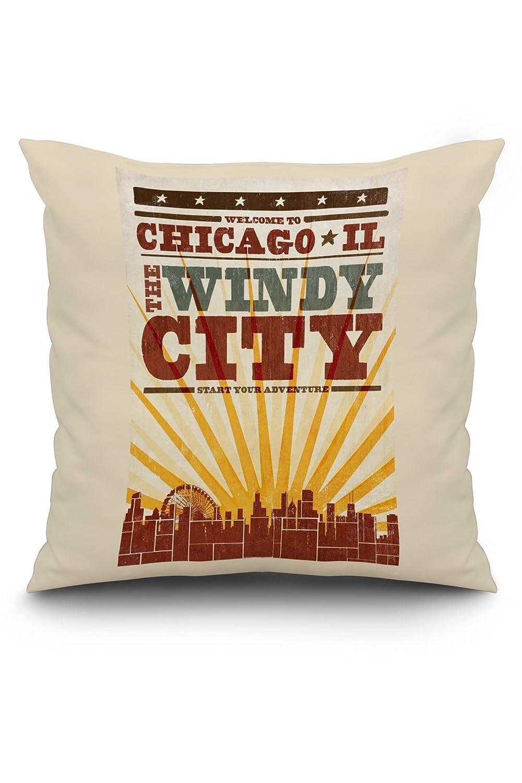 シカゴ、イリノイ州 – スカイラインとサンバーストScreenprintスタイル 20 x 20 Pillow (Natural Border) LANT-3P-PW-NL-67799-20x20 B01MYSS28J  20 x 20 Pillow (Natural Border)