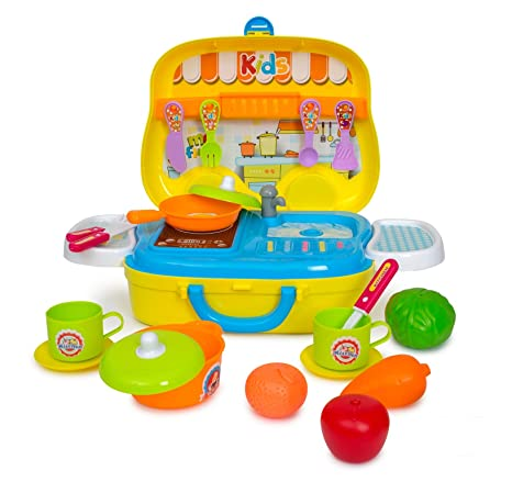 Kitchen Playset for Toddlers, Portable Play Kitchen Set with Stove Top,  Fork, Knife, Spoon, Pan, Pot, Fruits, Cups and More - Pretend Play Kitchen  Set ...