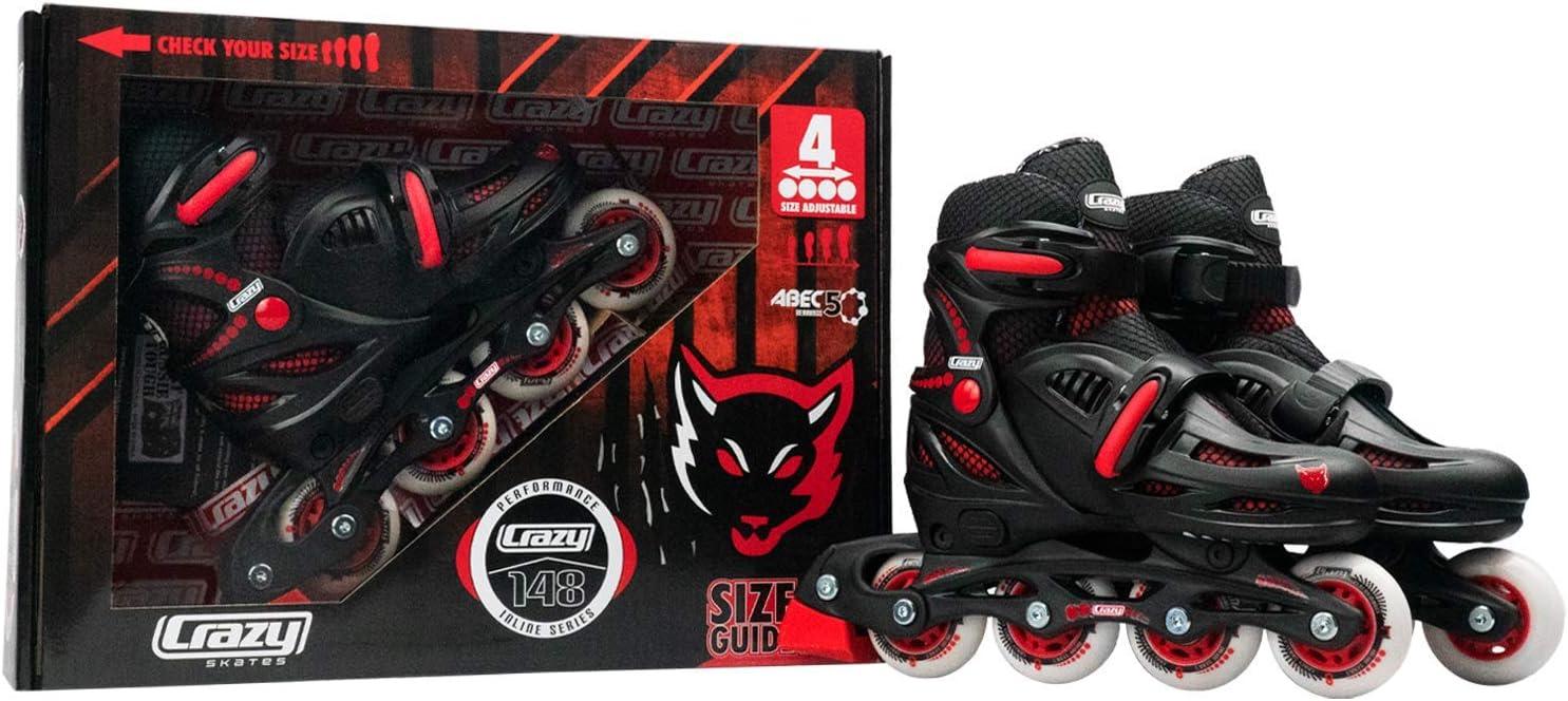 Renewed Crazy Skates Adjustable Inline Skates for Boys Beginner Kids Roller Blades Model 148