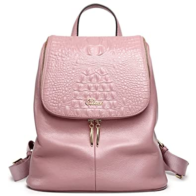 Amazon.com  Women Backpack Purse Real Genuine Leather School Backpacks  Ladies Travel Bag pink  Shoes 59d3ed4f1a