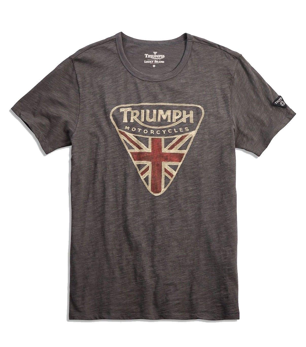 Lucky Brand Men's - Black Triumph British Flag Badge Tee (X-Large)