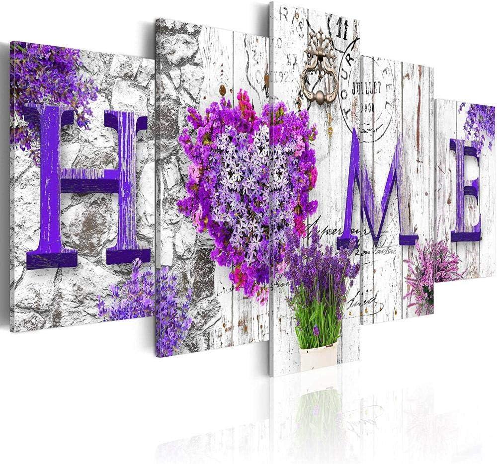 WWMJBH Lienzo Hd Imprime Fotos 5 Piezas 150 X 80 Cm Fondo Minimalista Púrpura Flor Morada Amor Él Cuadros Decoración Pinturas Sobre Lienzo Arte De Pared Para El Hogar Decoraciones De Pared Decoración