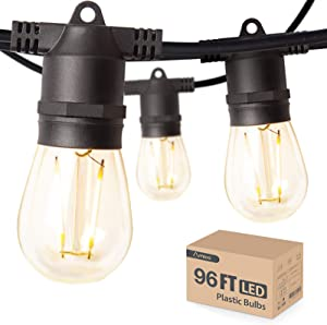 96FT Amico LED Outdoor String Lights with LED Edison Vintage Plastic Bulbs and Weatherproof Strand - Decorative LED Cafe Patio Light, Bistro Lights