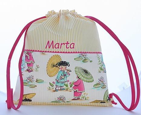 Bolsa mochila niñas japonesas, en tela vichy rayas amarillas, personalizada con nombre. /