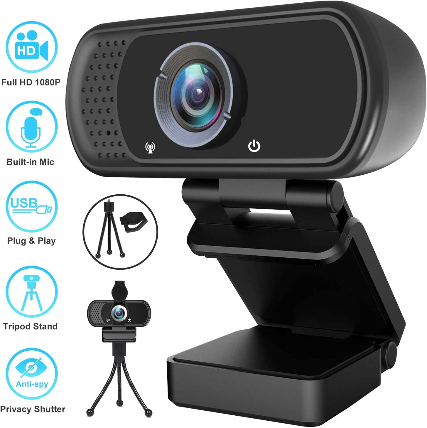 Webcam, HD Webcam 1080P with Privacy Shutter and Tripod Stand, Pro Streaming Web Camera with Microphone, Widescreen USB Computer Camera for PC Mac Laptop Desktop Video Calling Conferencing Recording