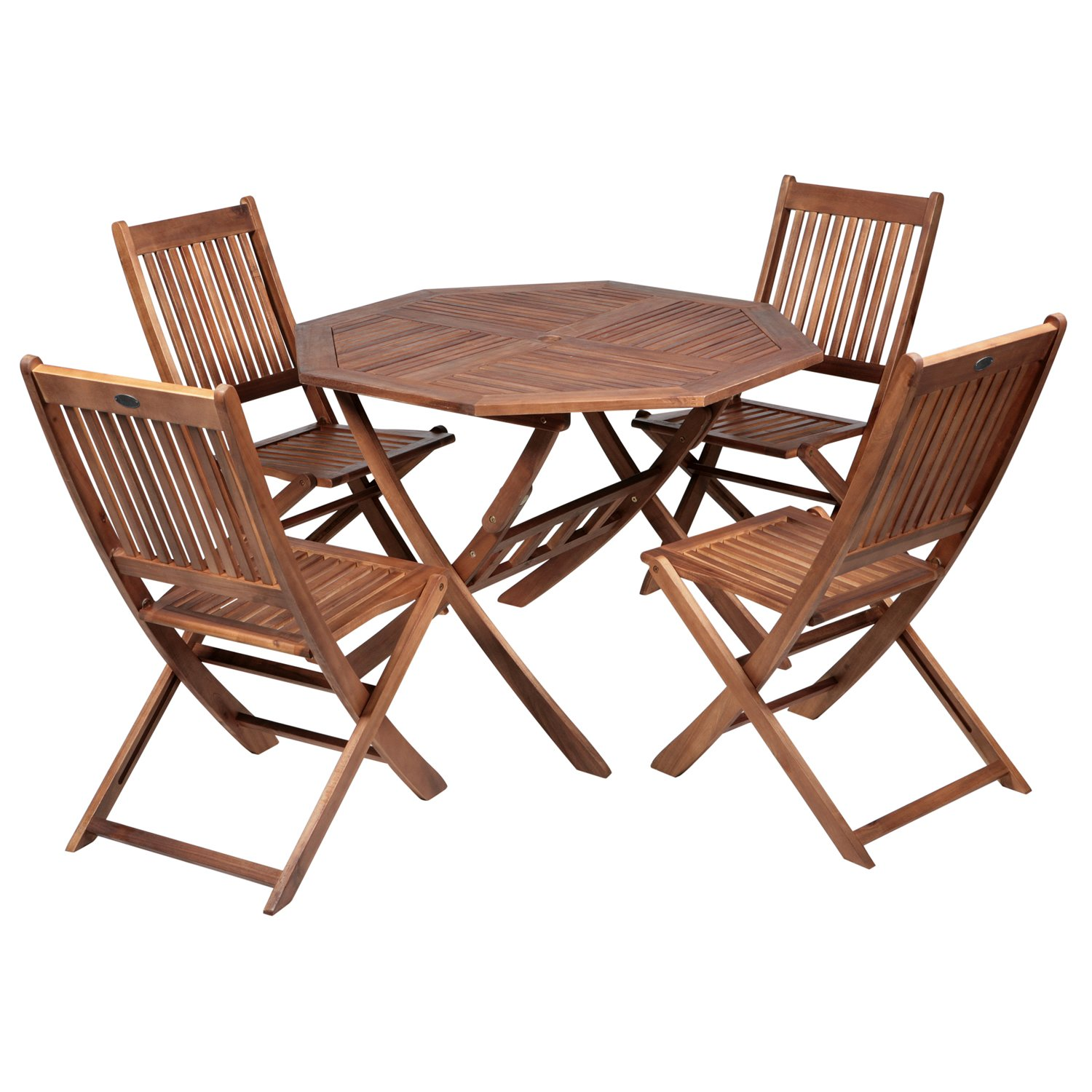 patio 4 seater dining set acacia hardwood octagonal folding table and 4 chairs - Garden Furniture 4 Seater