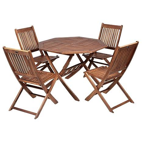 4 chaises de jardin en bois dur d\'Acacia-Table octogonale ...