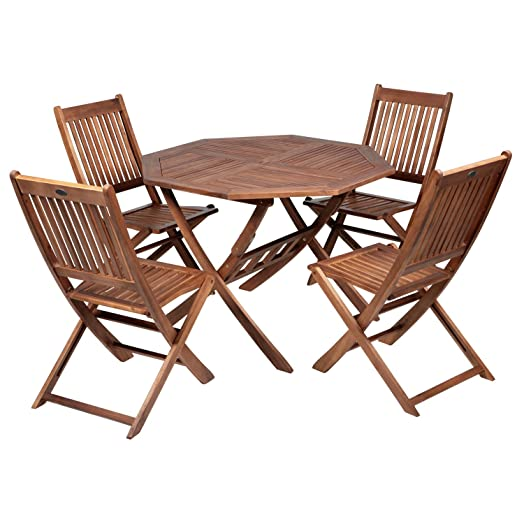 Patio 4 Seater Dining Set   Acacia Hardwood   Octagonal Folding Table And 4  Chairs
