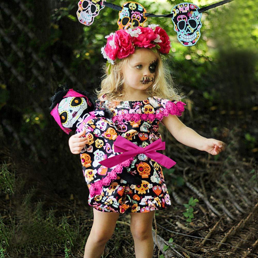 XUANOU Childrens Halloween Sleeveless Ruffled Sling Dress Toddler Baby Girls Cartoon Pumpkin Dress Off Shoulder Ruffles