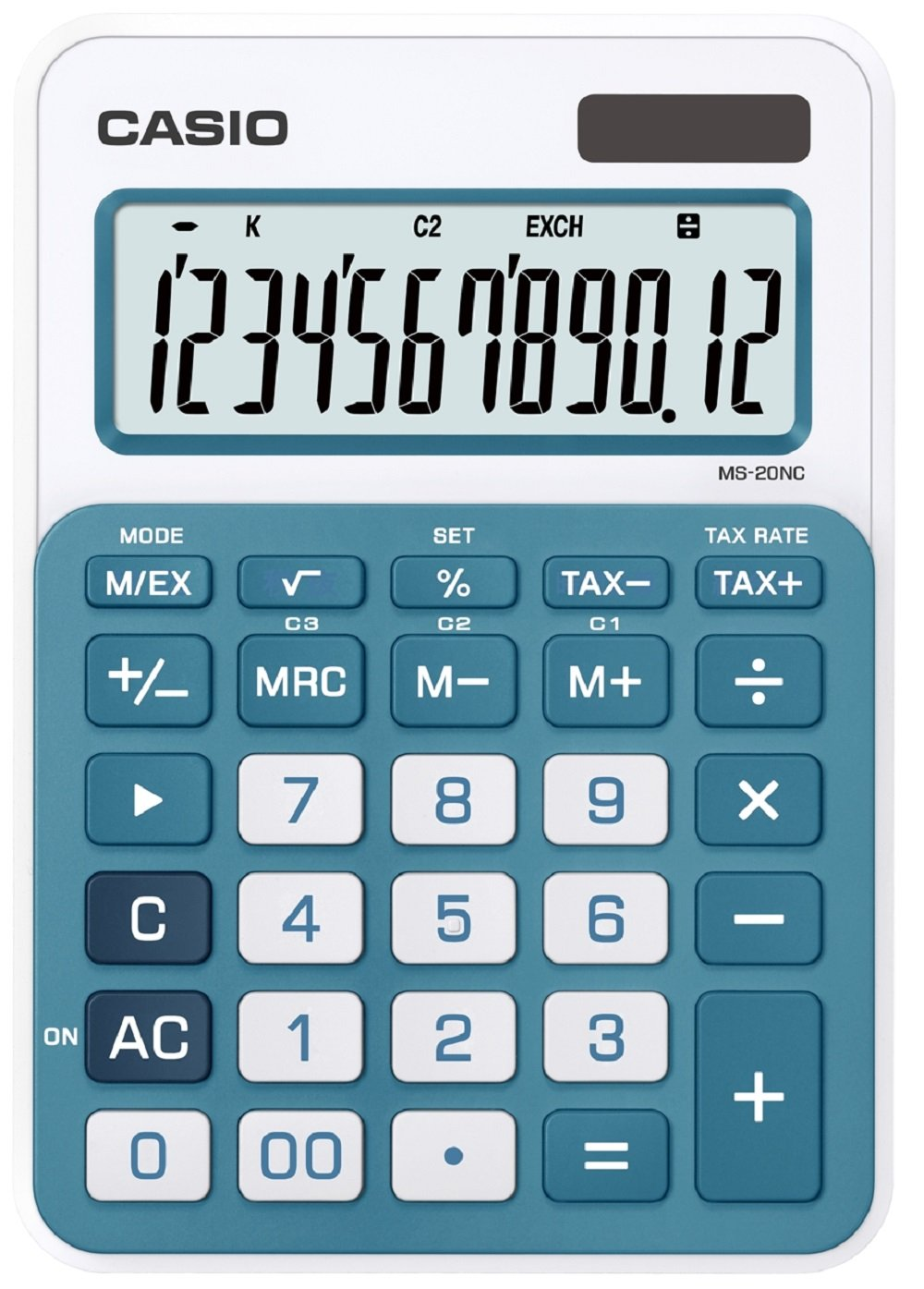 struttura di colore bianco//blu CASIO MS-20NC-BU calcolatrice da tavolo Display a 12 cifre