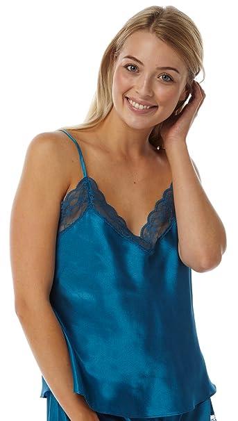 01345ddfc5564 Marlon Ladies Satin Lace Camisole Vest Teal - Size 10-24 (10)  Amazon.co.uk   Clothing