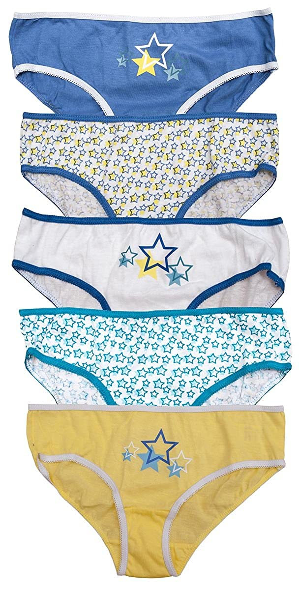 Just Essentials Girls Pack of 5 Blue/Lemon Stars Briefs Knickers Underwear Pants Sizes from 2 to 13 Years