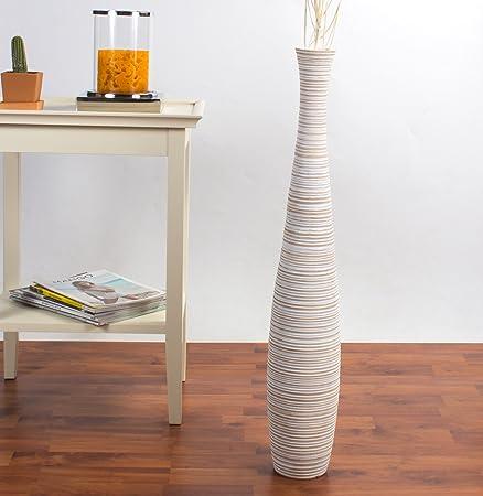 Leewadee Tall Floor Vase 75 Cm Mango Wood White Wash Amazon
