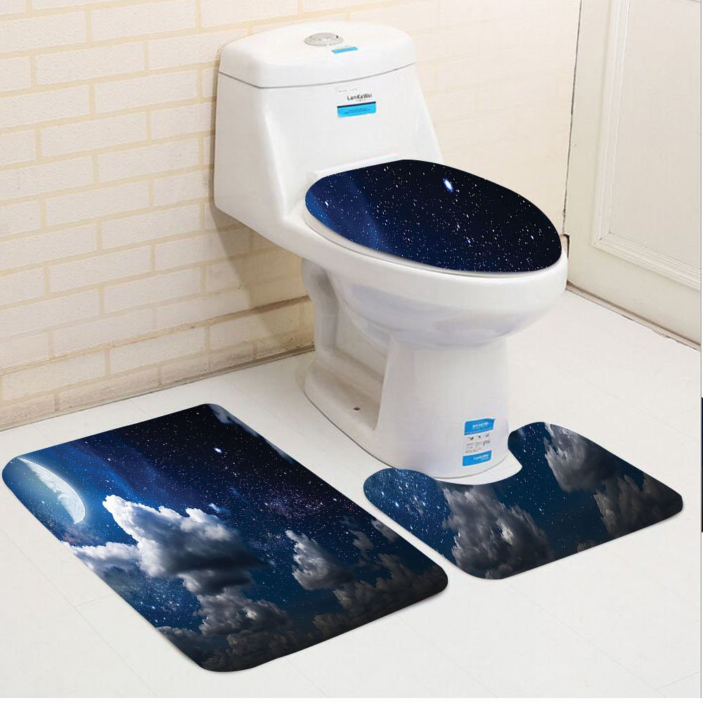 Keshia Dwete three-piece toilet seat pad customApartment Celestial Solar Night Scene Stars Moon and Clouds Heaven Place in Cosmos Theme Dark Blue White