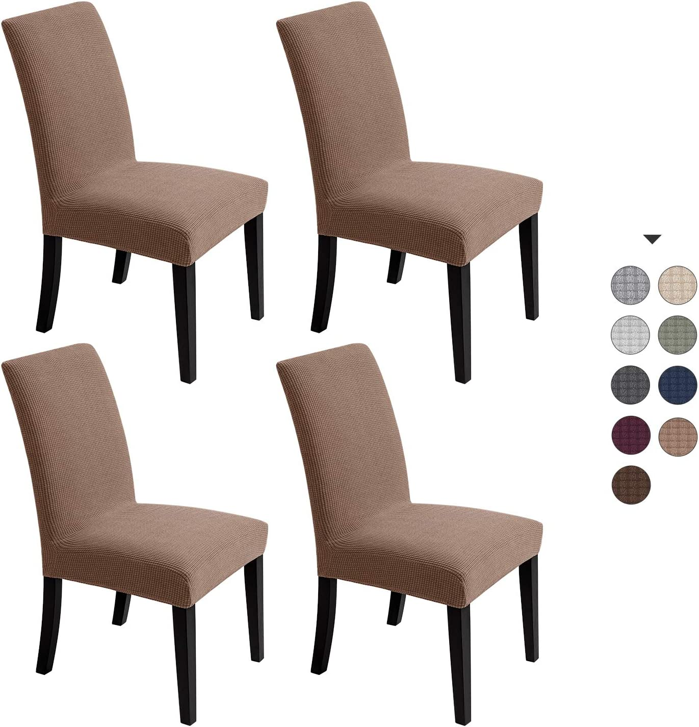 Chair Covers For Dining Room - Stretch Chair Slipcovers for Decorative Seat Protector Waterproof Armless Removable Washable Elastic Dinner Universal Spandex Solid Chair Slip Covers Set (Dark Khaki, 4)