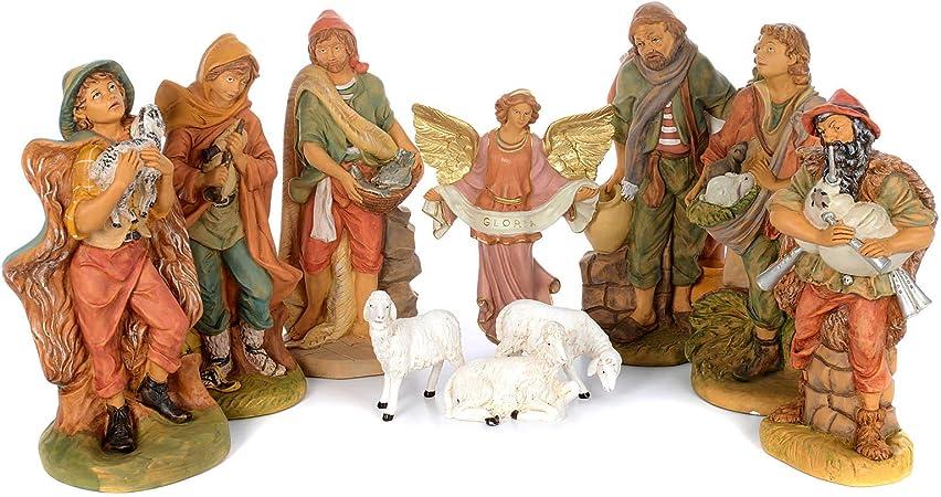 Holyart Pastori presepe 10 Statue in Materiale infrangibile 40 cm