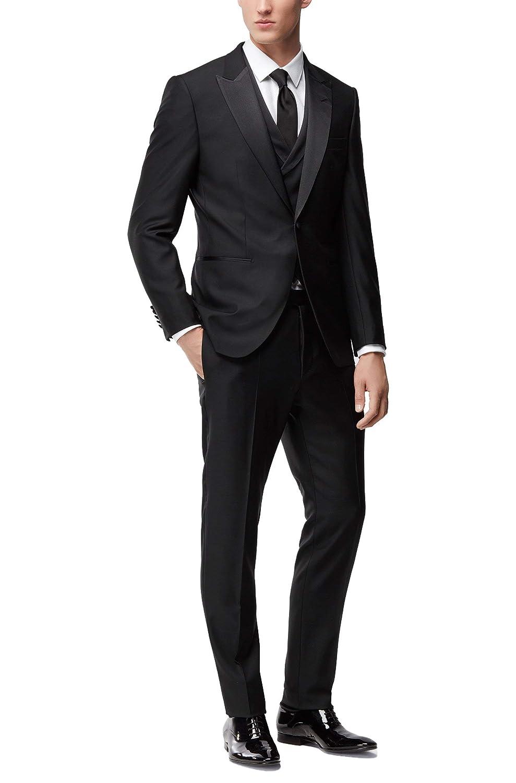 0bf7e7175 Amazon.com: Hugo Boss Men's 'T-Hardon/Glore WE' Black Slim Fit Wool 3 Piece  Tuxedo Suit 42 Short: Clothing