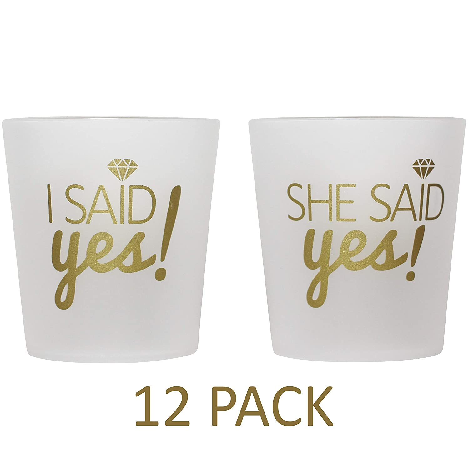 "Bridal 2 oz. Shot Glasses 12 Cups Set - 1 ""I Said Yes!"" & 11 ""She Said Yes!"" - Bridesmaids, Engagement, Bachelorette, Shower Party, Wedding - Props, Favors - Frosted & Gold - High Quality Guarantee Breeze Moments Inc."