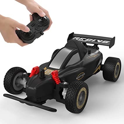Amazon Com Rc Racing Car 4wd 2 4ghz Remote Control Car 10 15km H High Speed Variable Speed 1 20 Scale 4 Batteries Toys Cars For Boys And Girls Black Toys Games