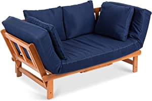 Best Choice Products Outdoor Convertible Acacia Wood Futon Sofa Furniture for Patio, Balcony, Poolside, Backyard w/Pullout Tray, Removable Weather-Resistant Cushion & 4 Pillows - Navy Blue