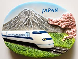 Japan Bullet Train Shinkansen and Mountain Fuji Resin 3D fridge Refrigerator Thai Magnet Hand Made Craft. by Thai MCnets