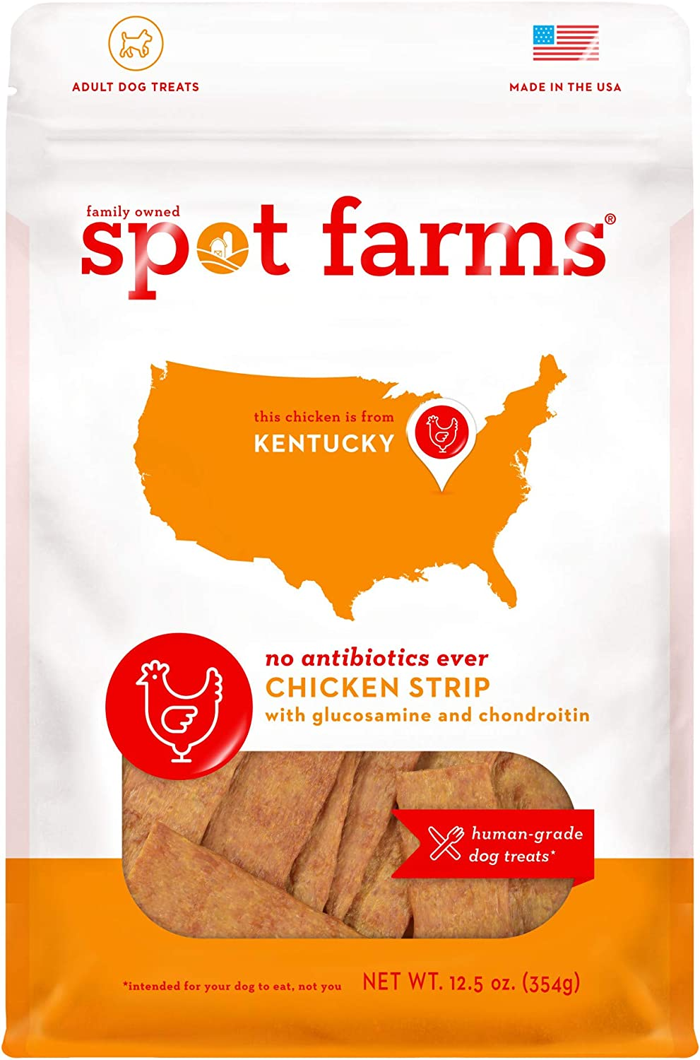 Spot Farms All Natural Human Grade Dog Treats, Chicken Strips with Glucosamine and Chondroitin