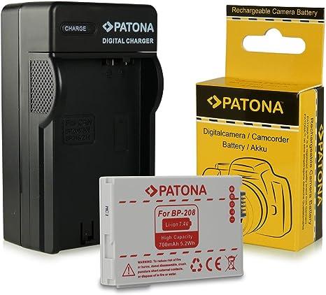 PATONA 3in1 Cargador para la bater/ía BP-208 compatible con Canon DC50 DC100 DC230 Elura 100 FVM300 MVX430 MVX460