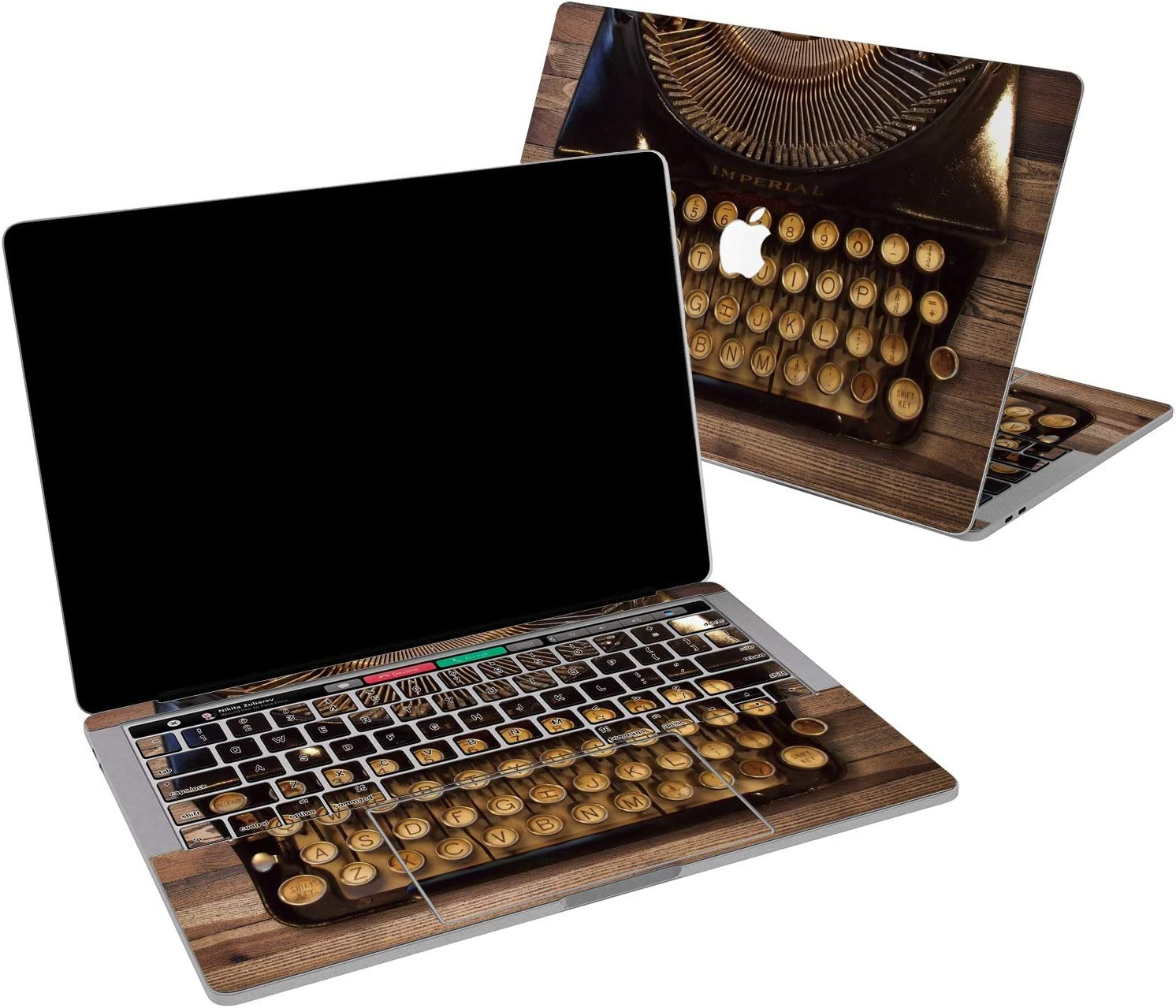 Lex Altern Vinyl Skin for MacBook Air 13 inch Mac Pro 16 15 Retina 12 11 2020 2019 2018 2017 Steampunk Typewriter Vintage Fashioned Wooden Touch Bar Wrap Trackpad Cover Keyboard Decal Sticker Top