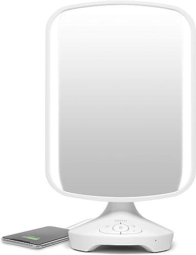 iHome 7 x 9 Reflect ll iCVBT3 Adjustable Vanity Mirror, Makeup Mirror with Bluetooth Audio, Hands-Free Speakerphone, LED Lighting, Siri Google Support USB Charging, Flat Panel LED Lighting White