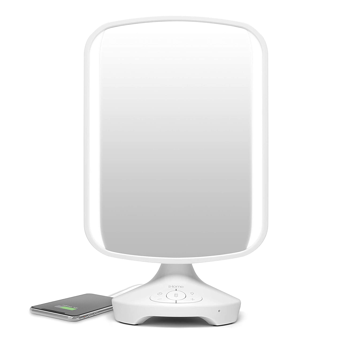 "iHome 7"" x 9"" Reflect ll iCVBT3 Adjustable Vanity Mirror, Makeup Mirror with Bluetooth Audio, Hands-Free Speakerphone, LED Lighting, Siri & Google Support USB Charging, Flat Panel LED Lighting (White)"