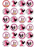 24 x 1st Birthday Minnie Mouse Edible Cupcake CakeToppers
